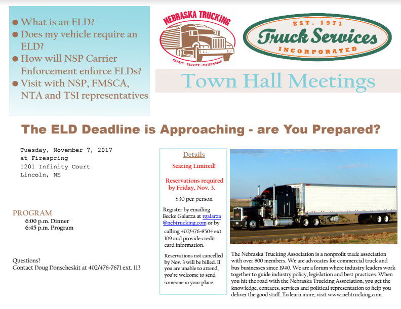Town Hall Meetings - Nebraska Trucking Association